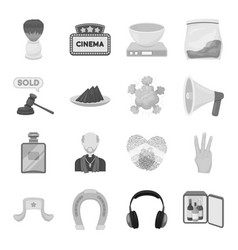 Brush sign cinema and other web icon in vector