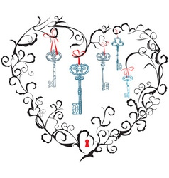 heart keyhole and keys vector image