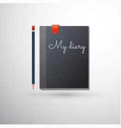 my diary with pencil and bookmark vector image