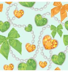 Shiny heart pendants hanging seamless pattern vector image