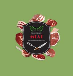 design template for meat marketbutcher shop vector image