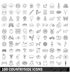 100 countryside icons set outline style vector