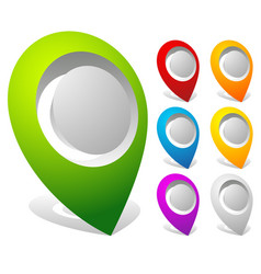 3d bold map markers map pins in 7 colors vector image