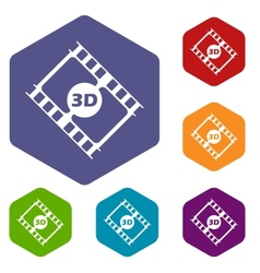 3d film rhombus icons vector image