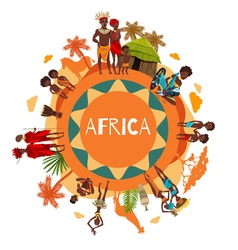 African Cultural Symbols Round Composition Poster vector image