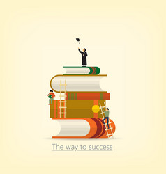 back to school book concept the way to success vector image