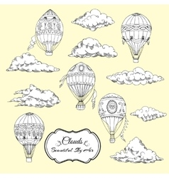 Background with Hot Air Balloons and Clouds vector