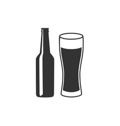 beer bottle and glass icon isolated alcohol drink vector image