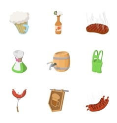 Beer drink icons set cartoon style vector image