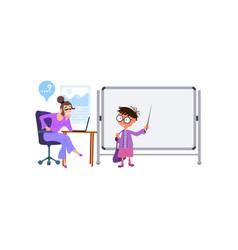 boy at blackboard at school in front vector image