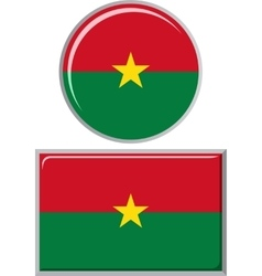 Burkina Faso round and square icon flag vector image