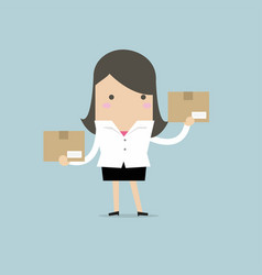 businesswoman holding a box vector image