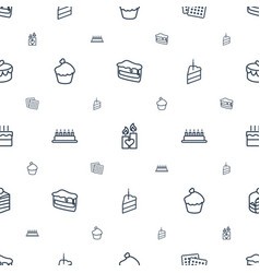Cake icons pattern seamless white background vector
