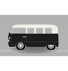 Cartoon cheerful minibus which travels on the vector image