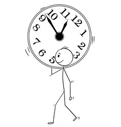 Cartoon of man or businessman carry big wall clock vector