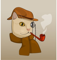 Cat with eyeglass pipe and scarf vector