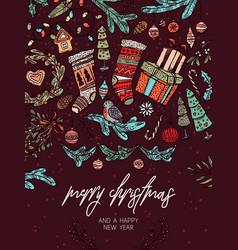 christmas festive greeting card vector image