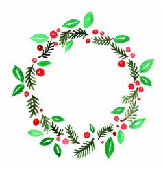 christmas plants decoration border watercolor vector image