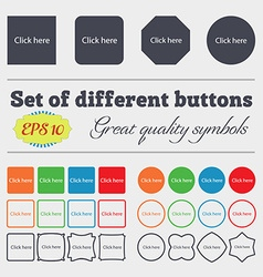 Click here sign icon Press button Big set of vector