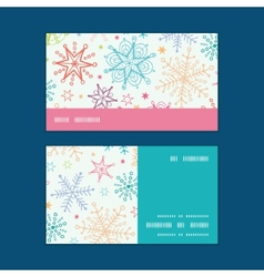 Colorful doodle snowflakes horizontal stripe frame vector