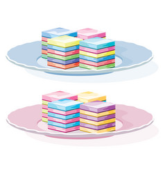 Colorful gelatin dessert on a plate vector