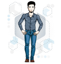 Confident handsome brunet young man standing of vector