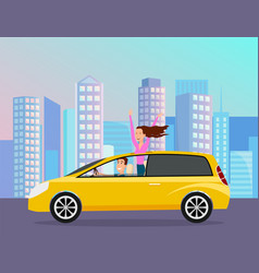 couple driving automobile on background vector image