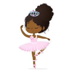 Cute african princess bagirl ballerina dance vector
