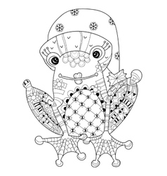 Cute Frog Prince in christmas hat sketch vector