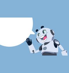 Cute robot white chat bubble chatbot service vector