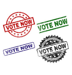 Damaged textured vote now seal stamps vector