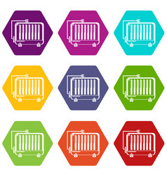 electric battery icons set 9 vector image