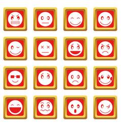 Emoticon icons set red vector