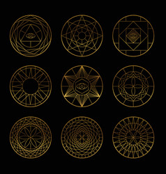 Esoteric geometric gold pentagrams vector