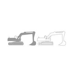 excavator grey set icon vector image
