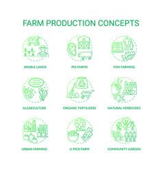Farm production concept icons set vector