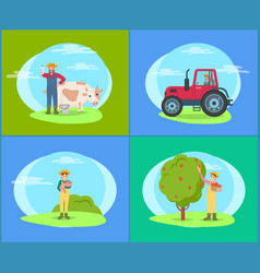 farmer with cow and piglet vector image