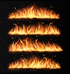 fire tongues long burning realistic flame vector image
