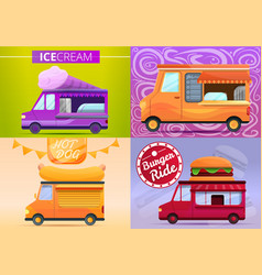 food truck banner set cartoon style vector image