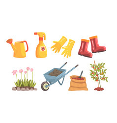 garden tools and equipment for plant trees and vector image