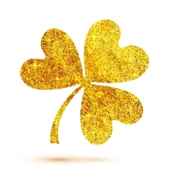 Golden shining glitter glamour clover leaf on vector