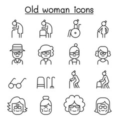 Grandmother grandma old woman icon set in thin vector