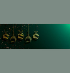 green merry christmas banner with creative golden vector image