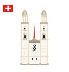 Grossmunster church in zurich switzerland vector