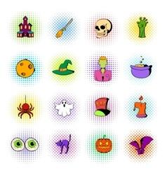 Halloween set icons comics style vector