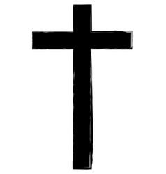 hand drawn cross icon vector image
