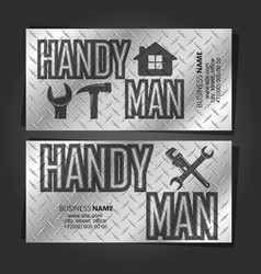 Handyman business card concept metal vector