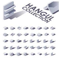 hangul isometric collection with shadows vector image