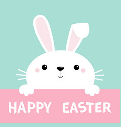 happy easter bunny rabbit face and paws cute vector image