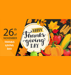 happy thanksgiving day card with lettering vector image